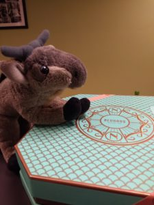 A small stuffed gnu sitting on a teal box of Neuhaus chocolates.